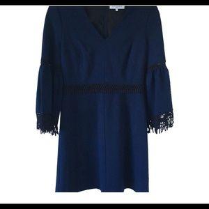 Kobi Halperin Blue With Black Lace Dress